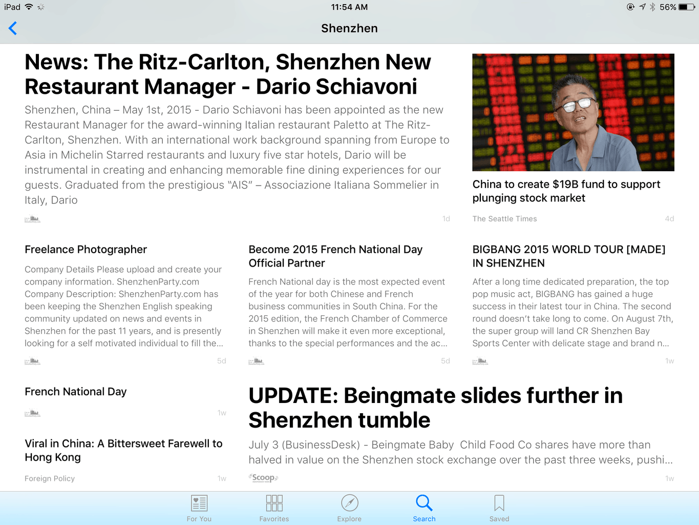 News of  Shenzhen in Apple News