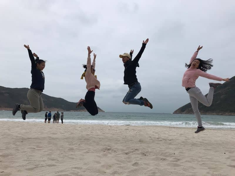 Successful hike to the Hong Kong beach people jumping